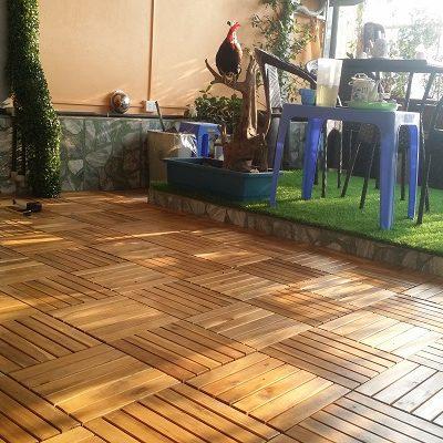 Sàn gỗ ban công tràm bông vàng tự nhiên