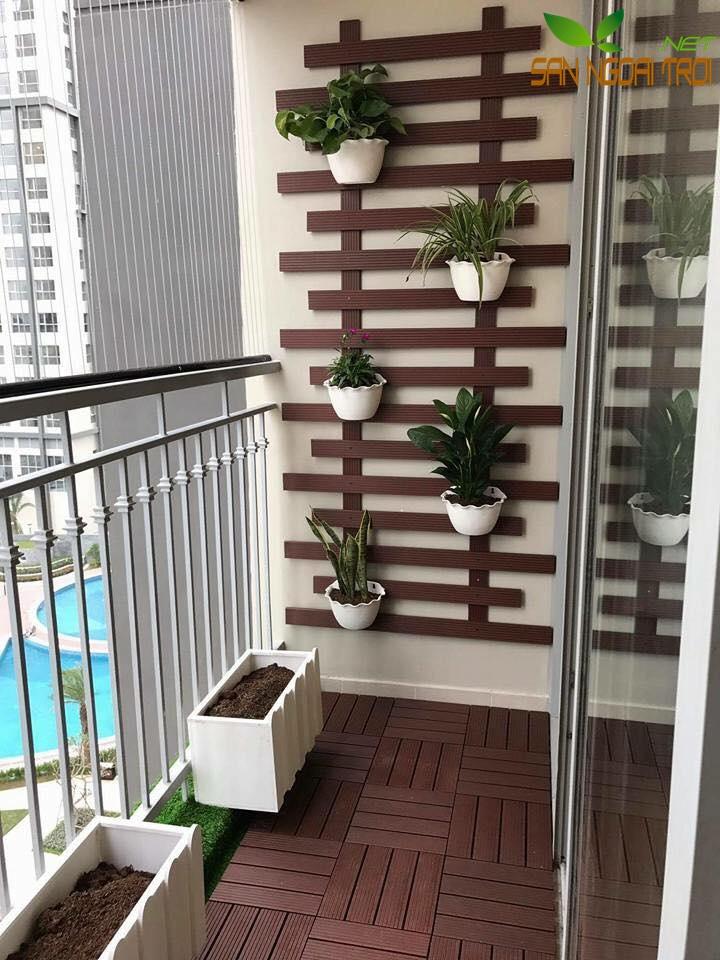 Giàn hoa ban công gỗ nhựa composite2