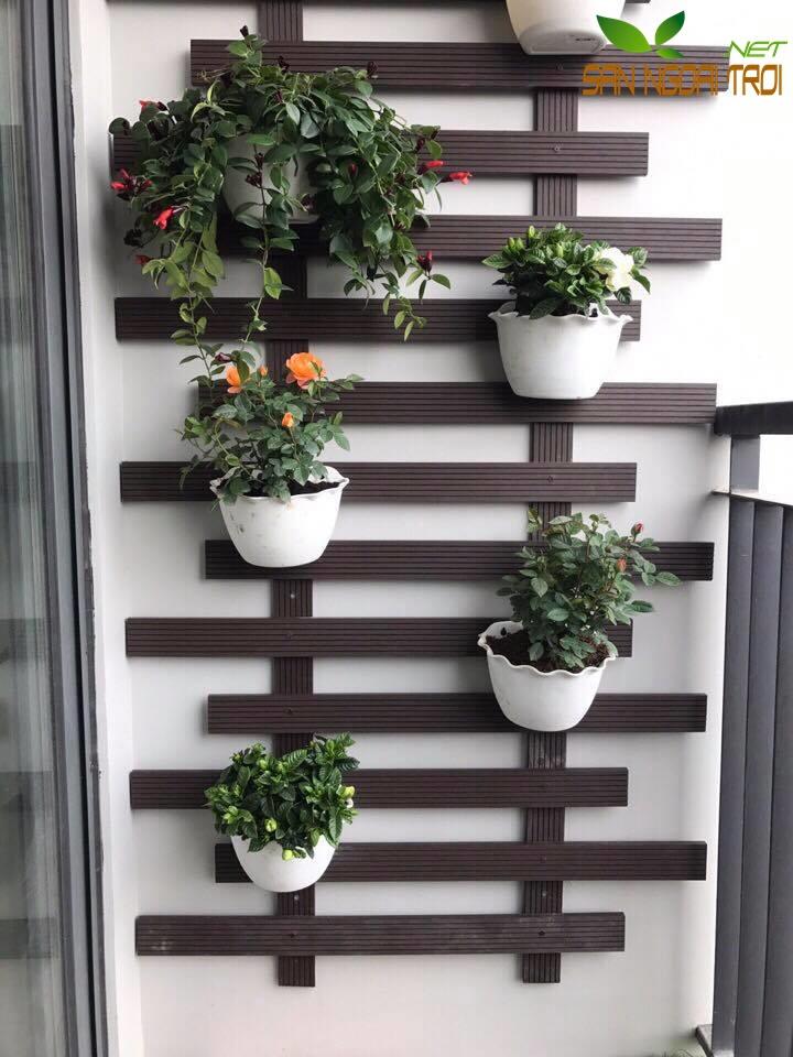 Giàn hoa ban công gỗ nhựa composite6