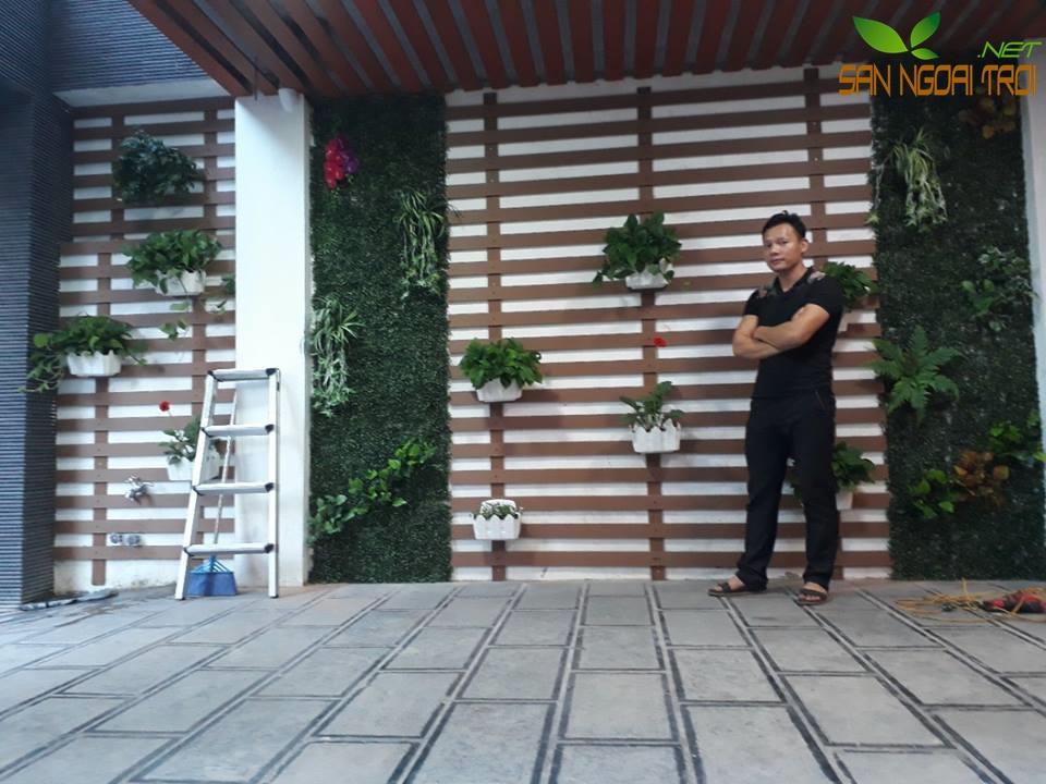 Giàn hoa ban công gỗ tự nhiên